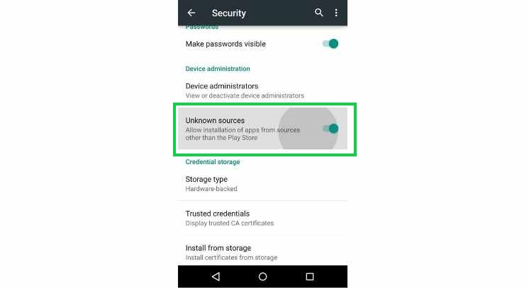 enabling unknown sources to install hushsms apk on android device